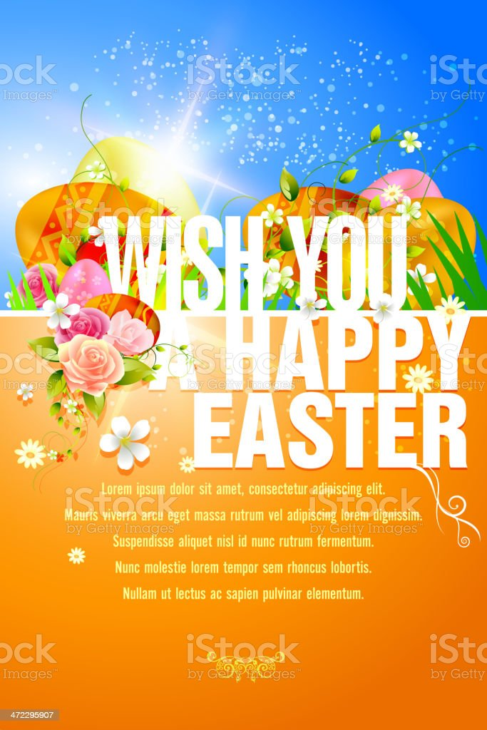 Happy Easter Background with Copy Space royalty-free stock vector art