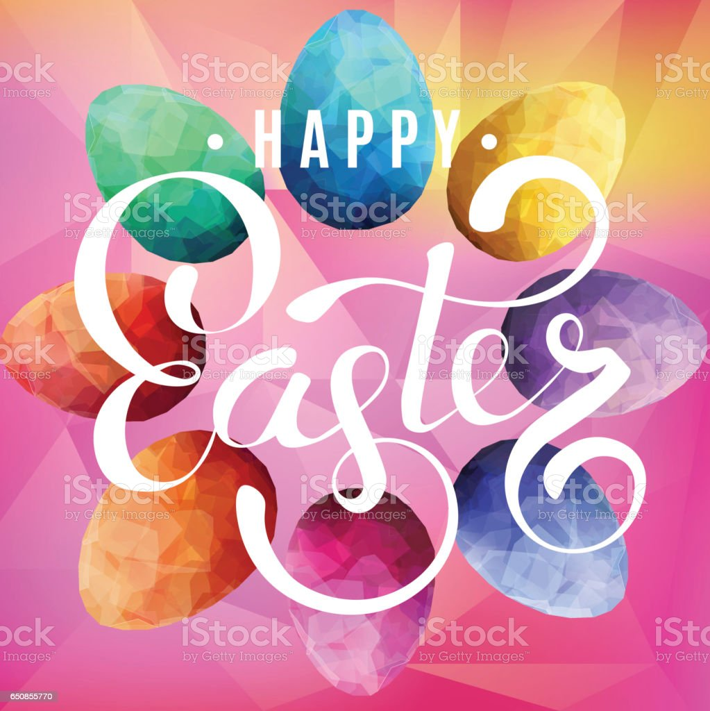 Happy Easter Background with eggs vector art illustration
