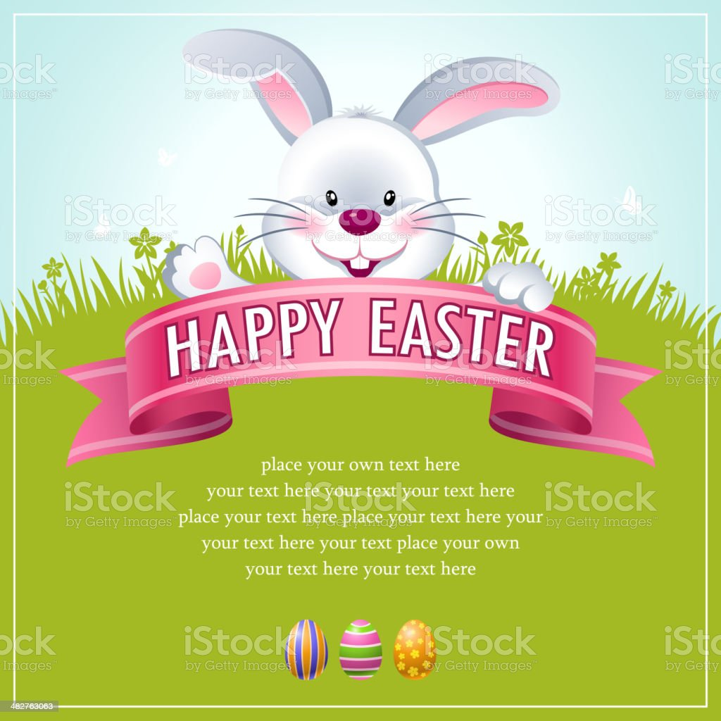 Happy Easter Bunny Banner vector art illustration