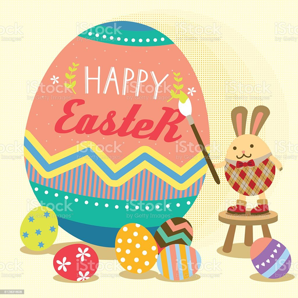 happy Easter bunny painting egg vector art illustration