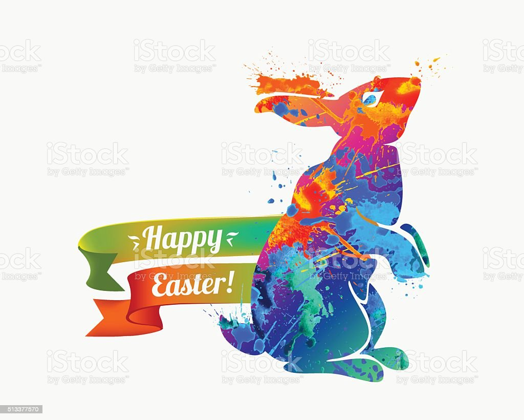 Vector congratulation Christian holiday card. Happy Easter! Easter...