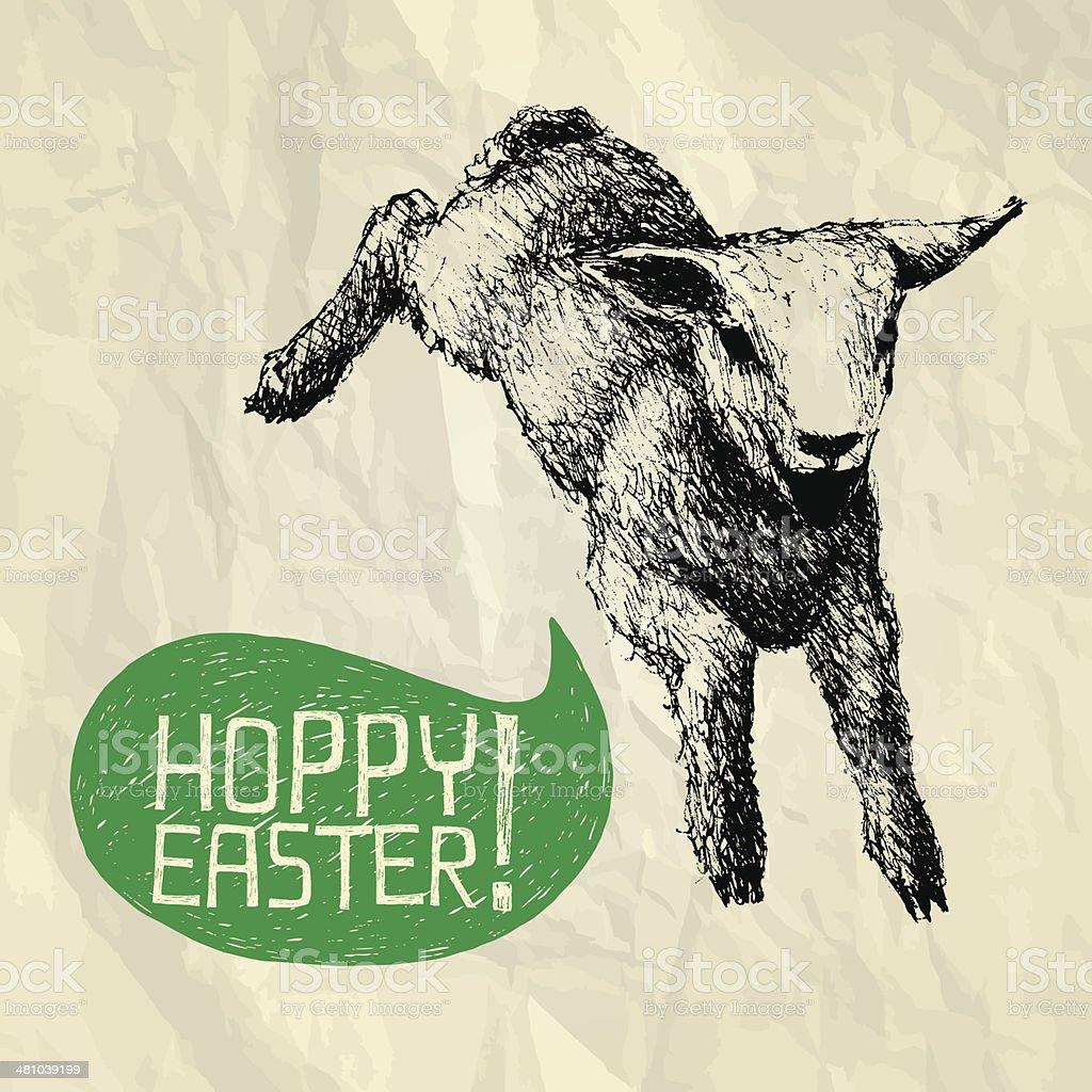 HOPPY (jump) EASTER! - Happy Easter card vector art illustration