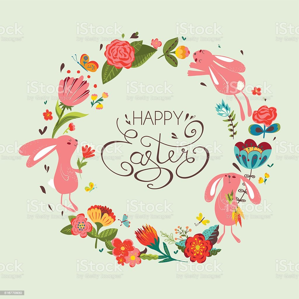 Happy Easter Card stock vector art 516770930 – Easter Card