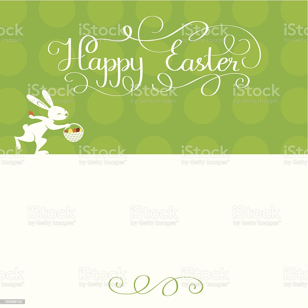 Happy Easter card with bunny and lettering royalty-free stock vector art