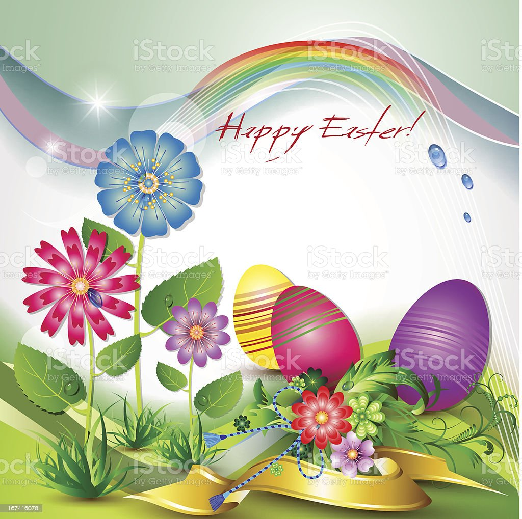 Happy Easter card with eggs royalty-free stock vector art