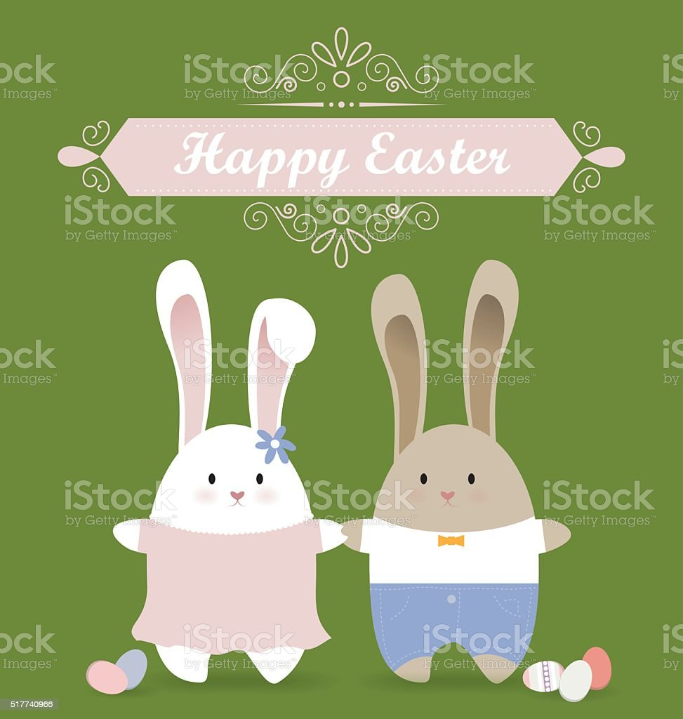 Happy Easter card with rabbit couple in love vector art illustration