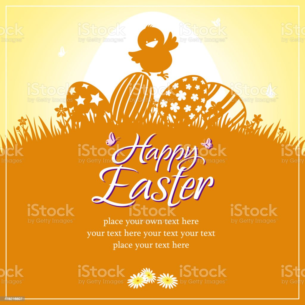 Happy Easter Chick Card vector art illustration