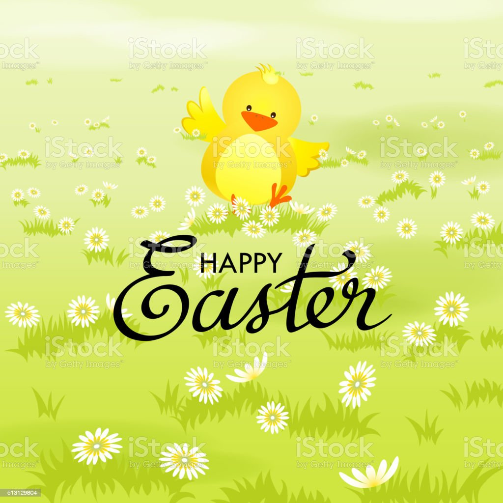 Happy Easter Chick vector art illustration