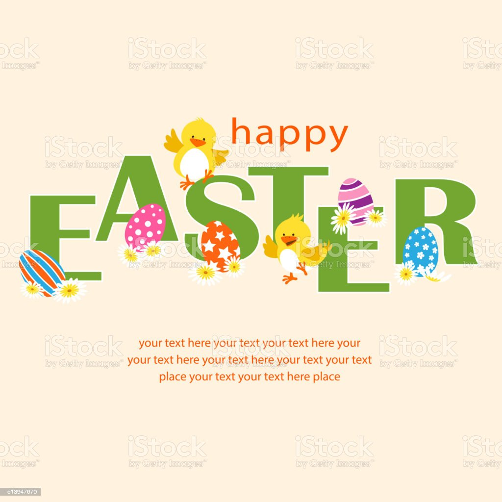 Happy Easter Chicks Celebration vector art illustration