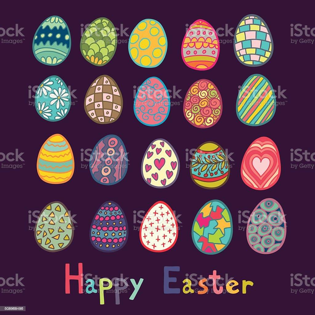 Happy Easter Color Eggs Vector Illustration vector art illustration