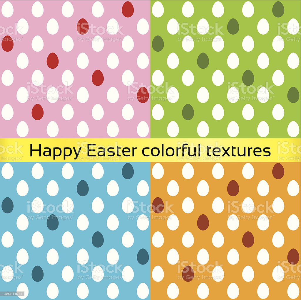 Happy easter colorful eggs seamless textures vector art illustration