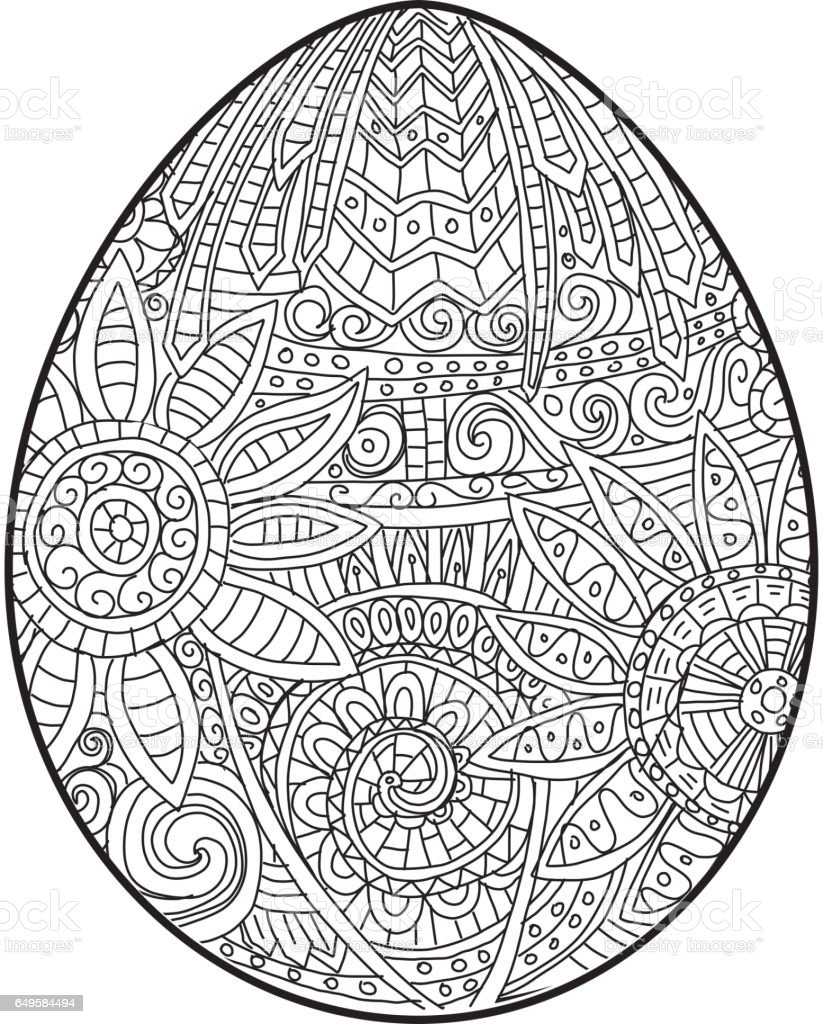 Happy Easter Coloring Book Page Egg Design With Text Greeting ...
