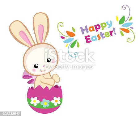 Happy Easter Cute Easter Bunny Sitting In Egg stock vector ...