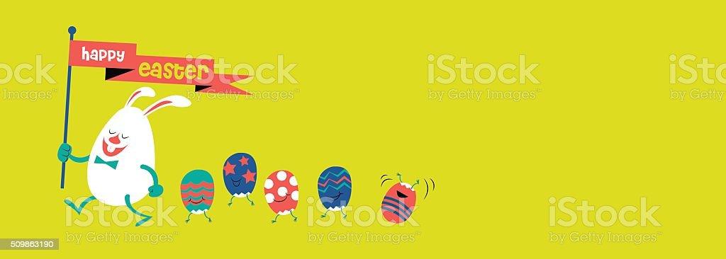 happy easter, cute illustration, bunny & eggs vector art illustration