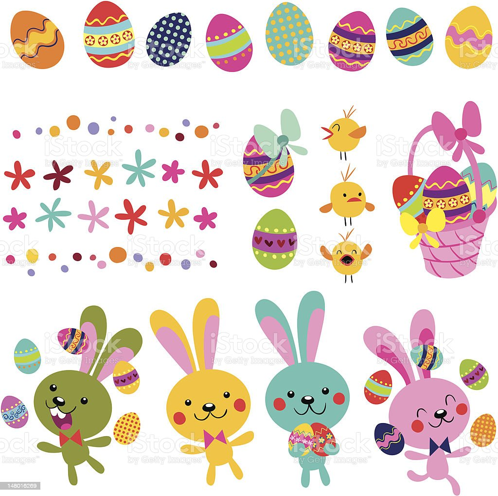 Happy Easter design elements set vector art illustration