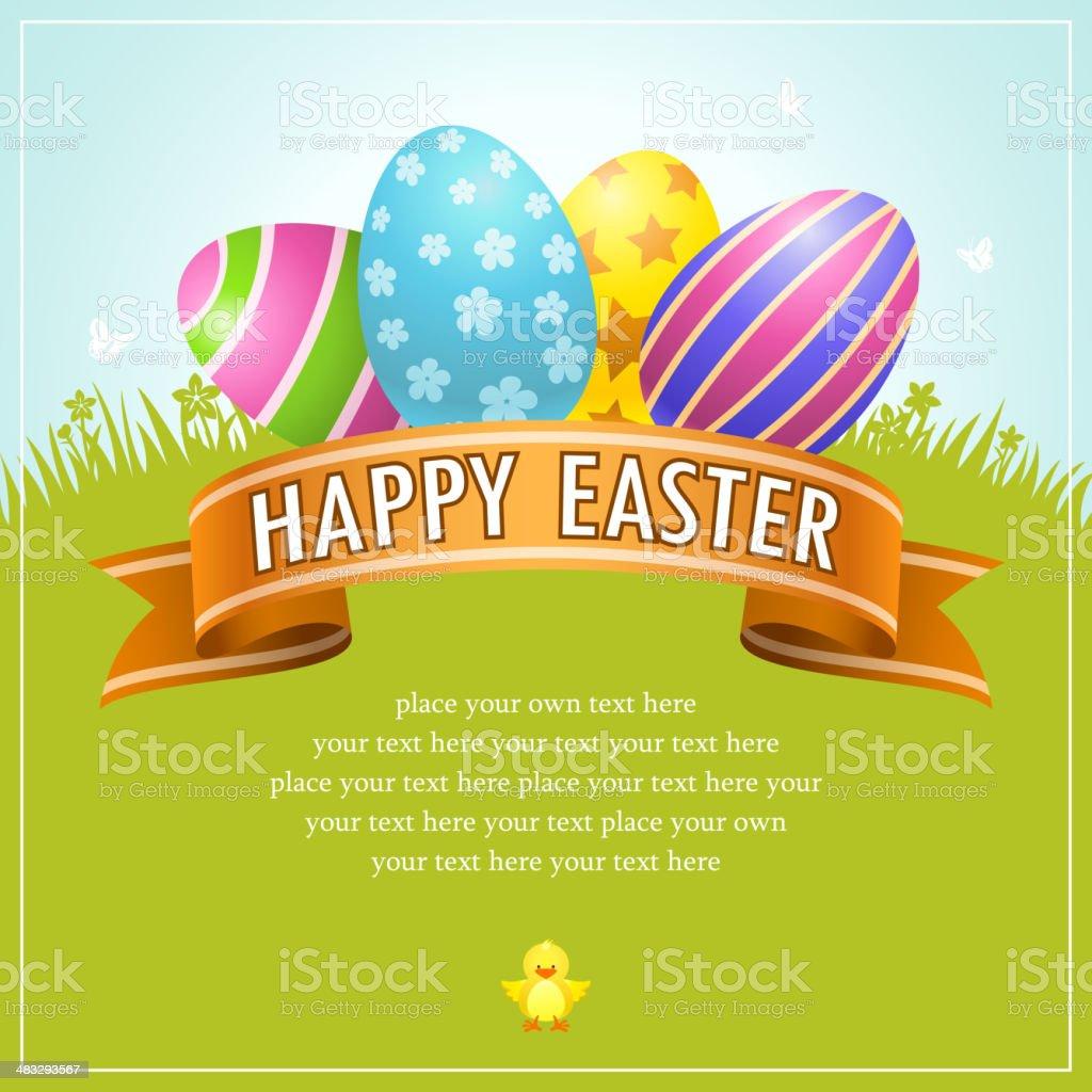 Happy Easter Egg Banner vector art illustration