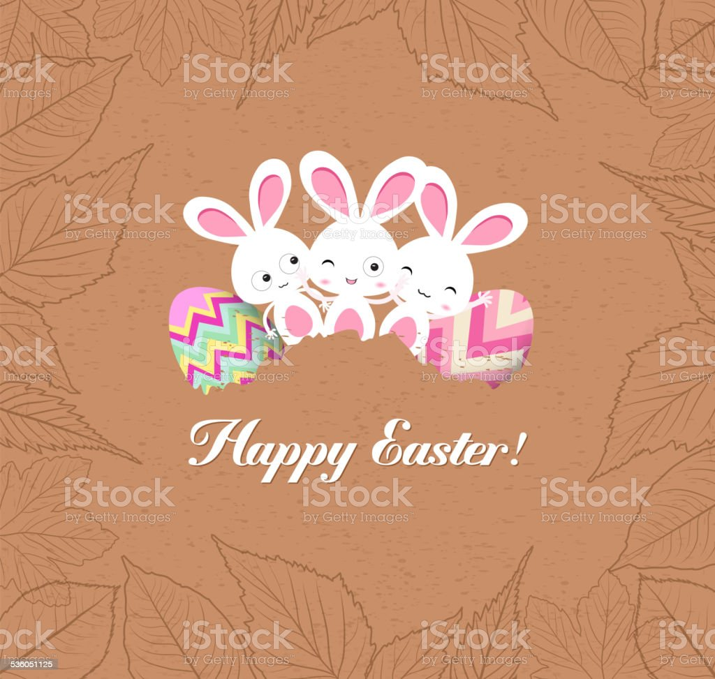 happy easter eggs and bunnys with leaves greeting card vector art illustration