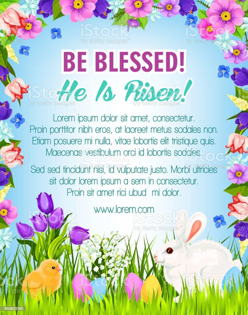 happy easter eggs bunnies vector greeting poster stock vector art
