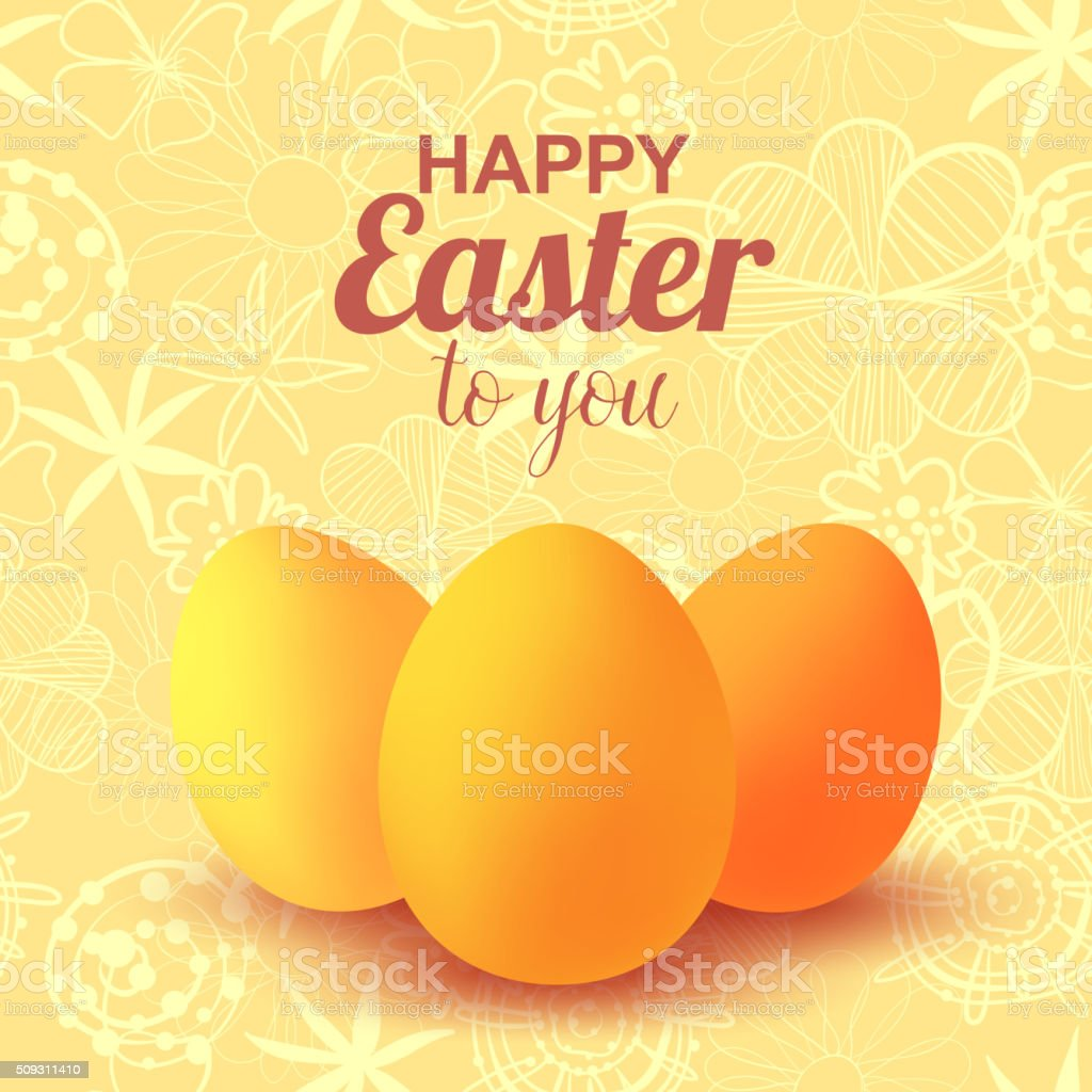 Happy Easter. Eggs. Celebration vector art illustration