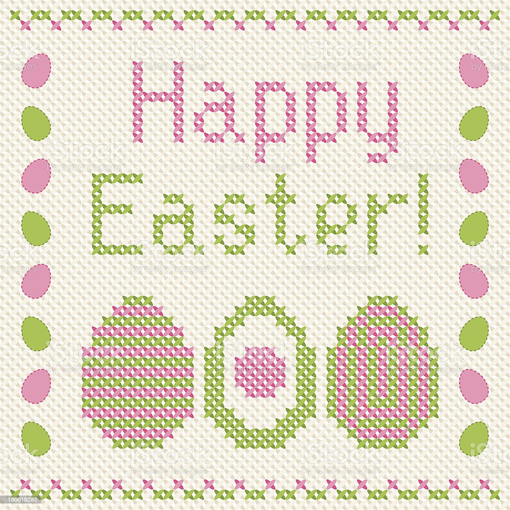 Happy Easter embroidery cross-stitch greeting card. royalty-free stock vector art