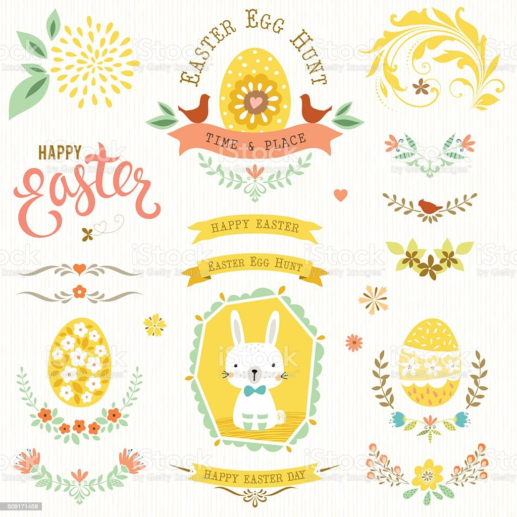 Happy Easter Floral Set vector art illustration