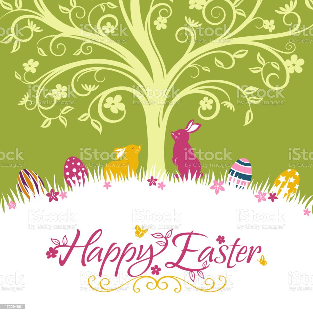 Happy Easter Floral with Bunnies and Easter Eggs royalty-free stock vector art