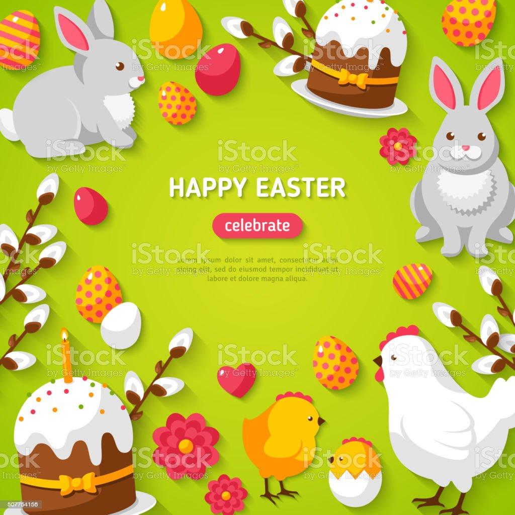 Happy Easter Green Background vector art illustration