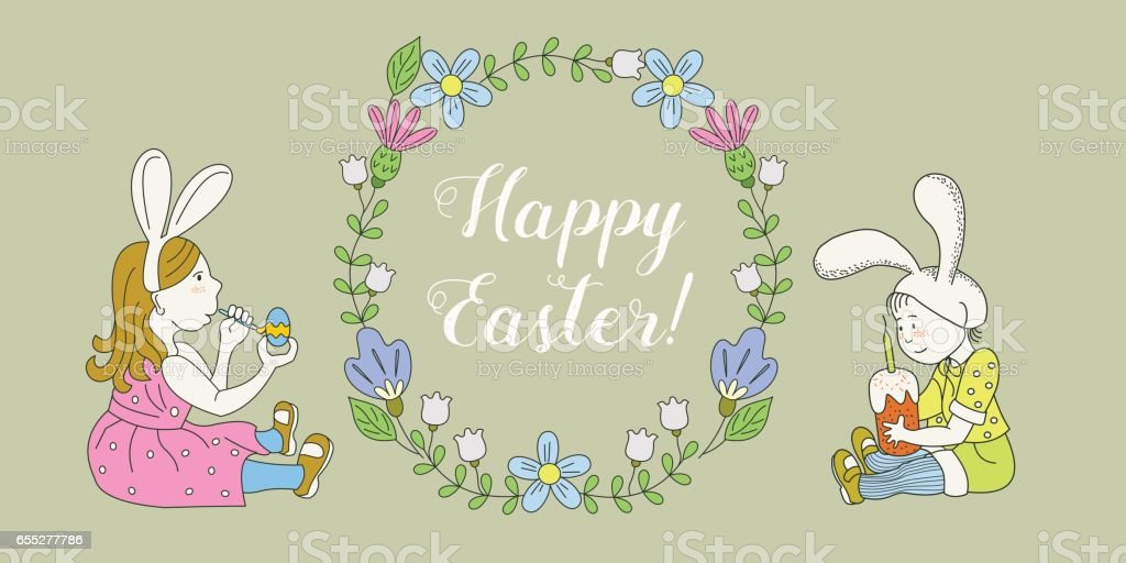 Happy easter greeting card a wreath of spring flowers children in happy easter greeting card a wreath of spring flowers children in rabbit costumes m4hsunfo