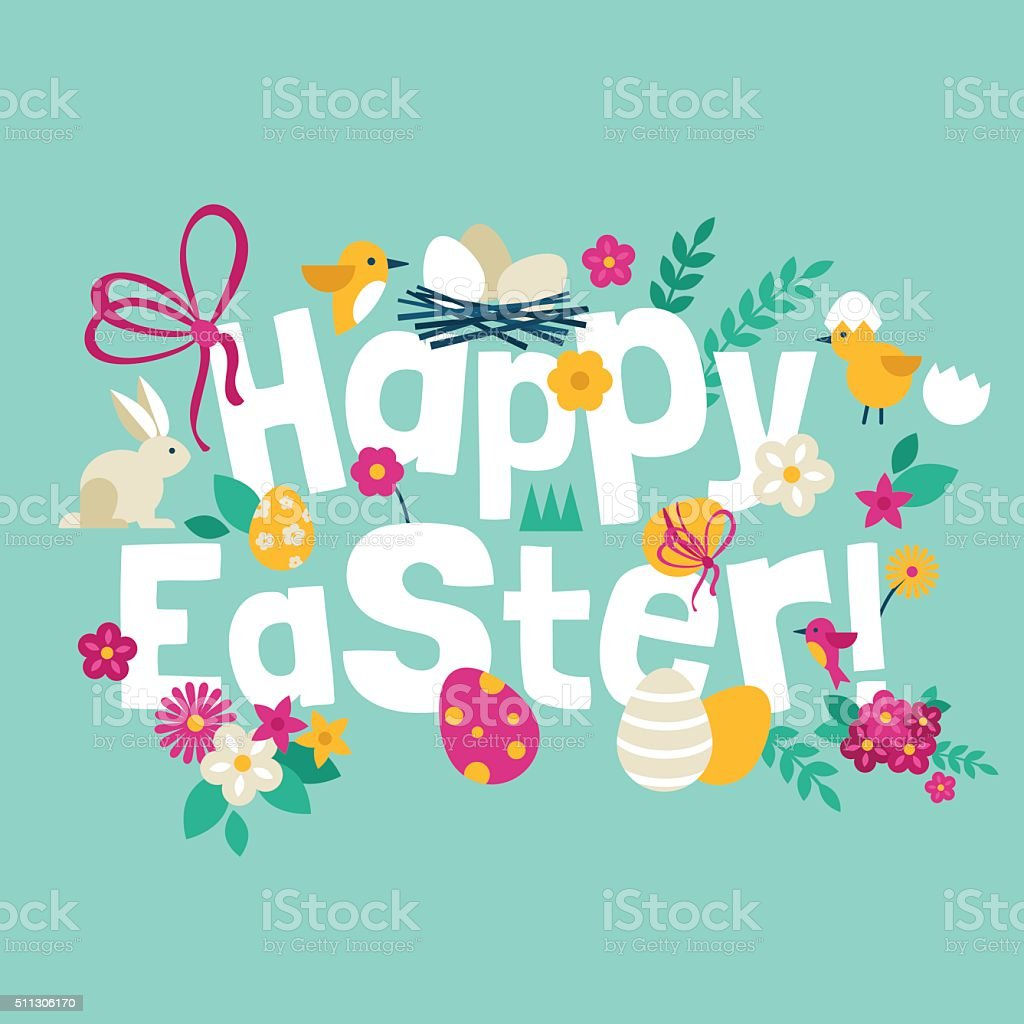 Happy Easter greeting card design with modern flat icons vector art illustration