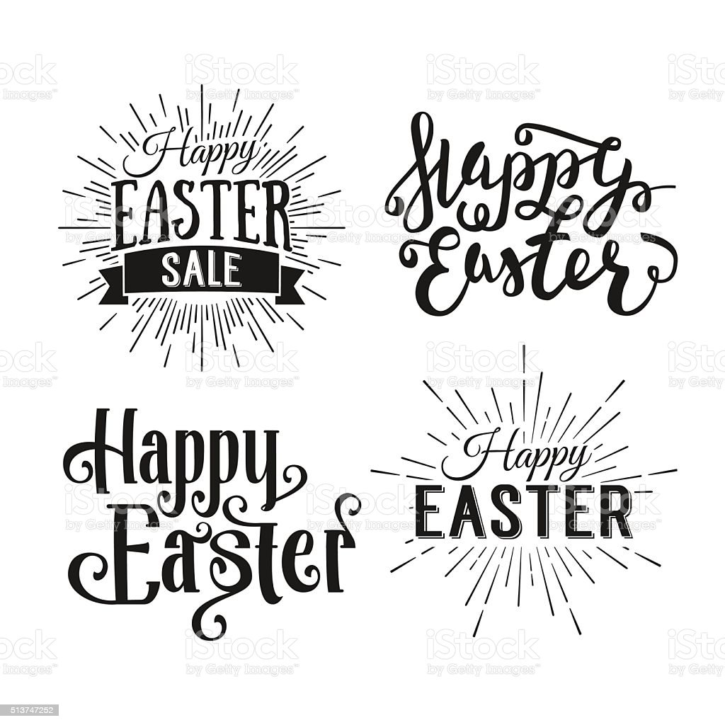 Happy Easter greeting card. Easter sale. Hand Drawn logo lettering vector art illustration