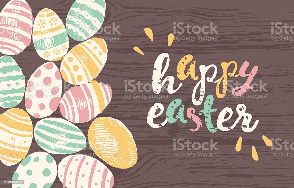 Happy Easter greeting card eggs vector art illustration