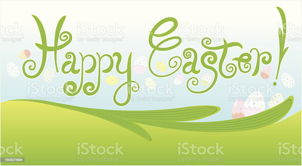 happy easter greeting card  / handwriting royalty-free stock vector art