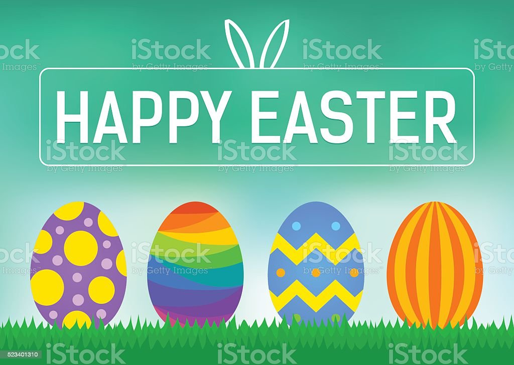 Happy Easter greeting card or display vector poster vector art illustration