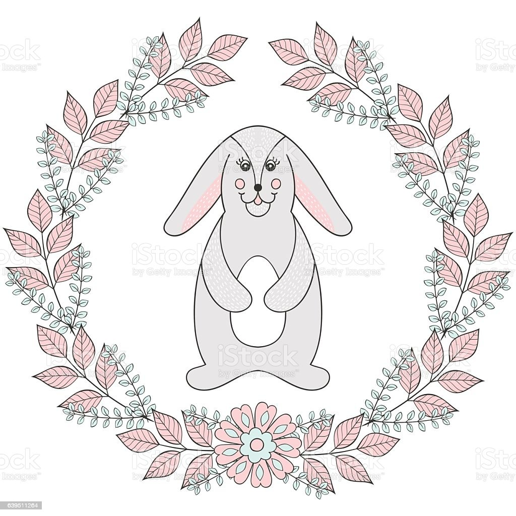 Happy Easter Greeting Card Template Funny Bunny stock vector art – Easter Greeting Card Template