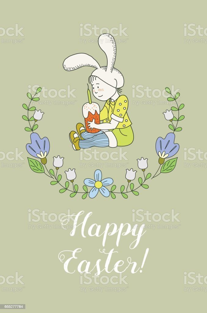 Happy Easter! Greeting card. The kid with the Easter cake in a Bunny suit. Spring flowers. Vector illustration of hand drawn. vector art illustration
