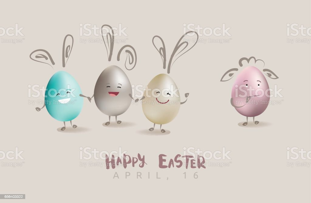 Happy Easter greeting card with funny eggs and calligraphic text vector art illustration