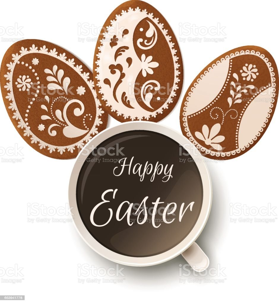 Happy Easter greeting, Gingerbread in the form of eggs. Spring...