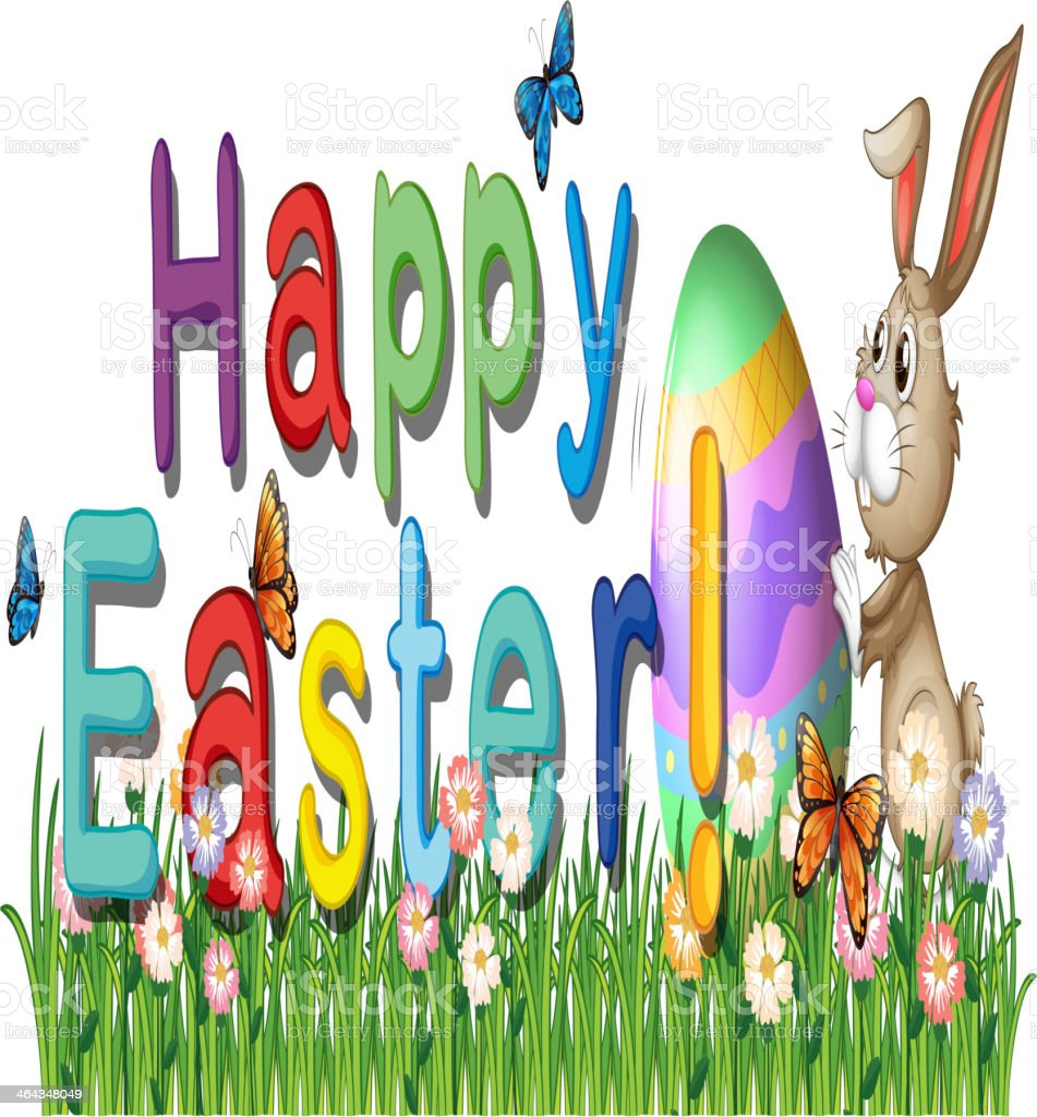 Happy easter greetings in the garden royalty-free stock vector art