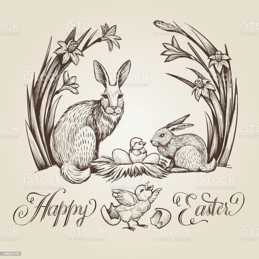 Happy Easter, hand drawn card. Vintage illustration with rabbits, chickens, nest with eggs and narcissus flowers. vector art illustration
