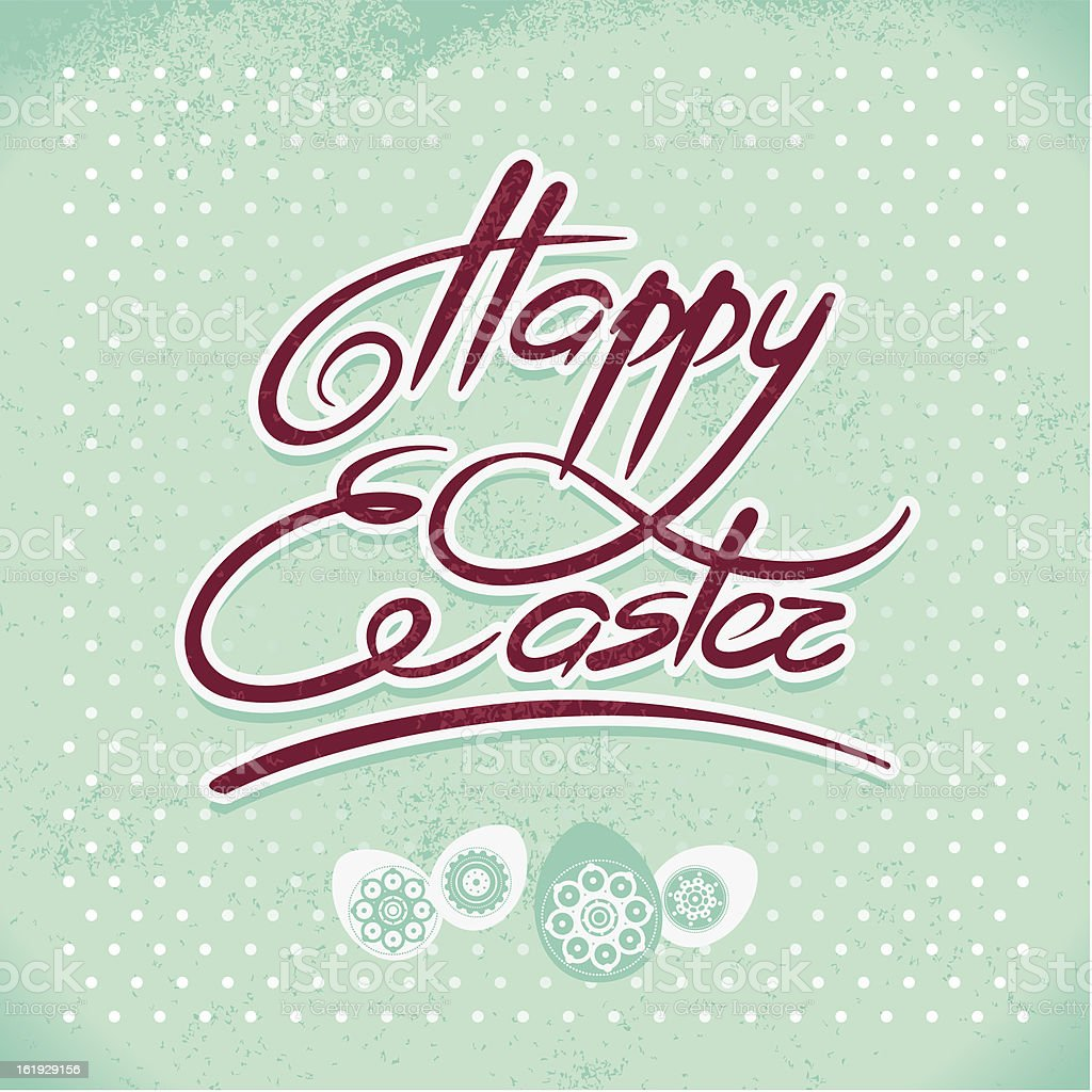 Happy Easter, hand lettering royalty-free stock vector art