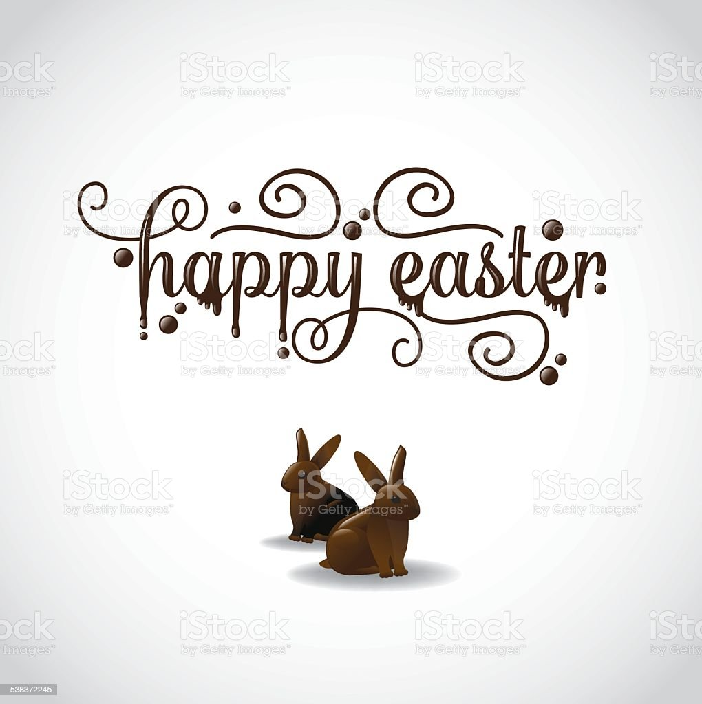 Happy Easter in fancy chocolate lettering with chocolate bunnies vector art illustration