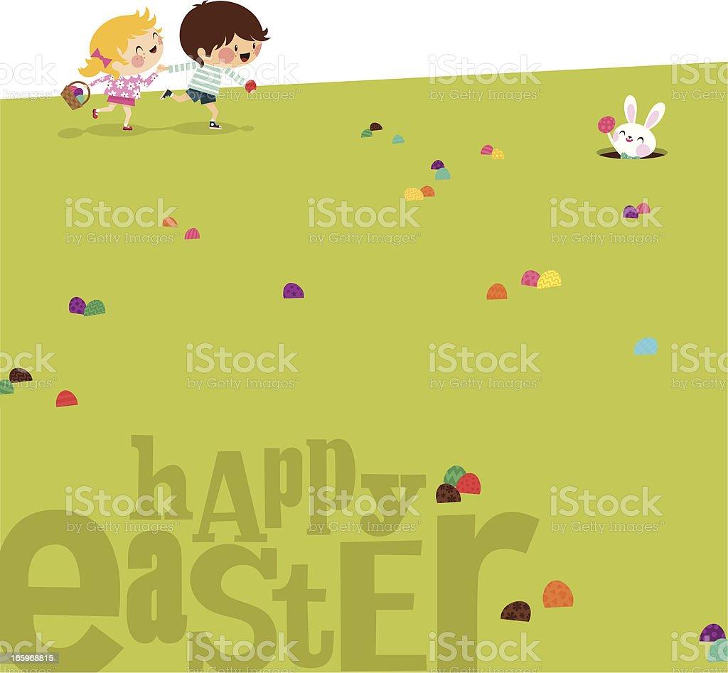 Happy easter Kids bunny eggs grass illustration vector myillo royalty-free stock vector art