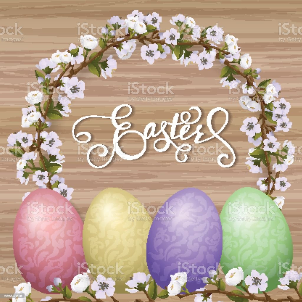 Happy Easter lettering, painted colorful eggs. Spring holidays,...