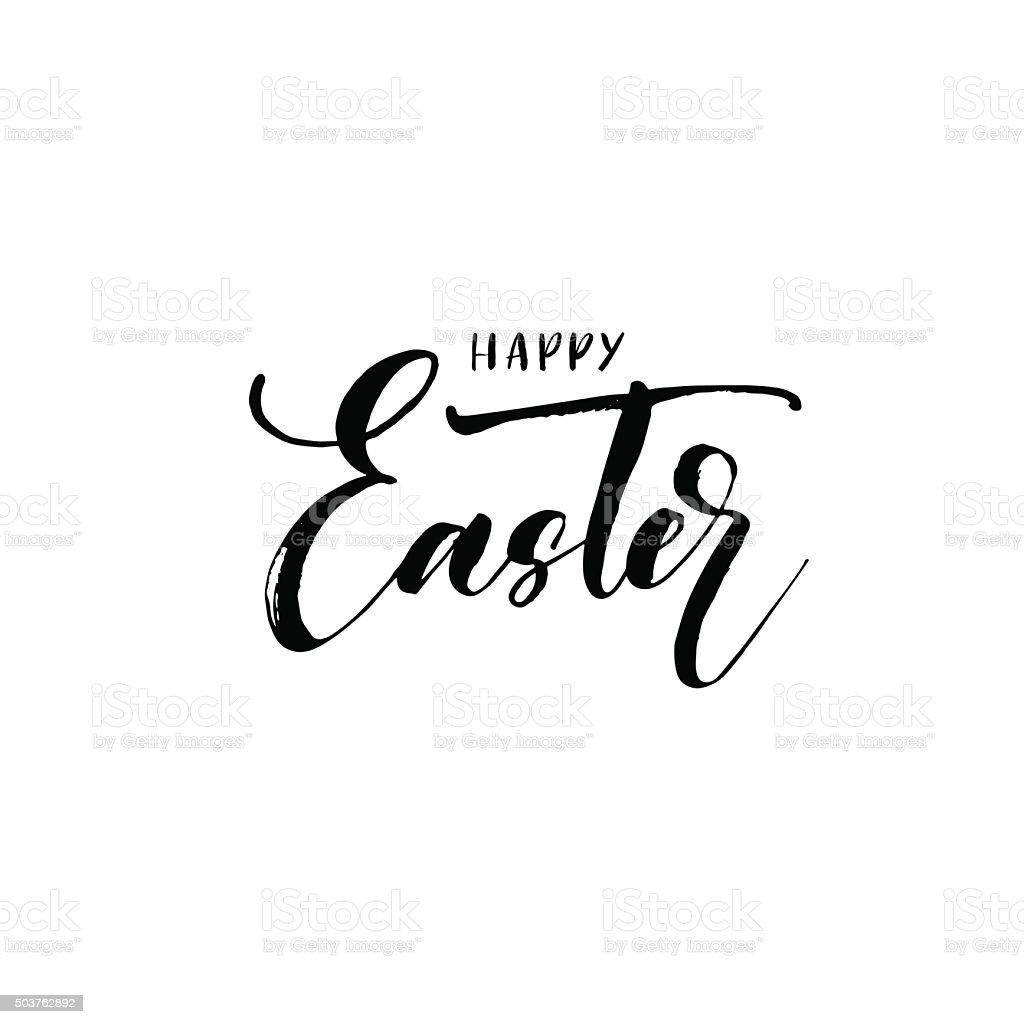 Happy Easter lettering phrase. vector art illustration
