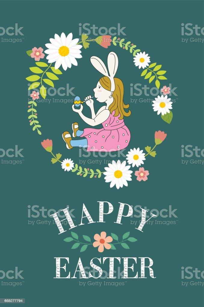 Happy Easter! Little girl dressed as rabbit paints Easter eggs. Wintaka card. Vector illustration. vector art illustration