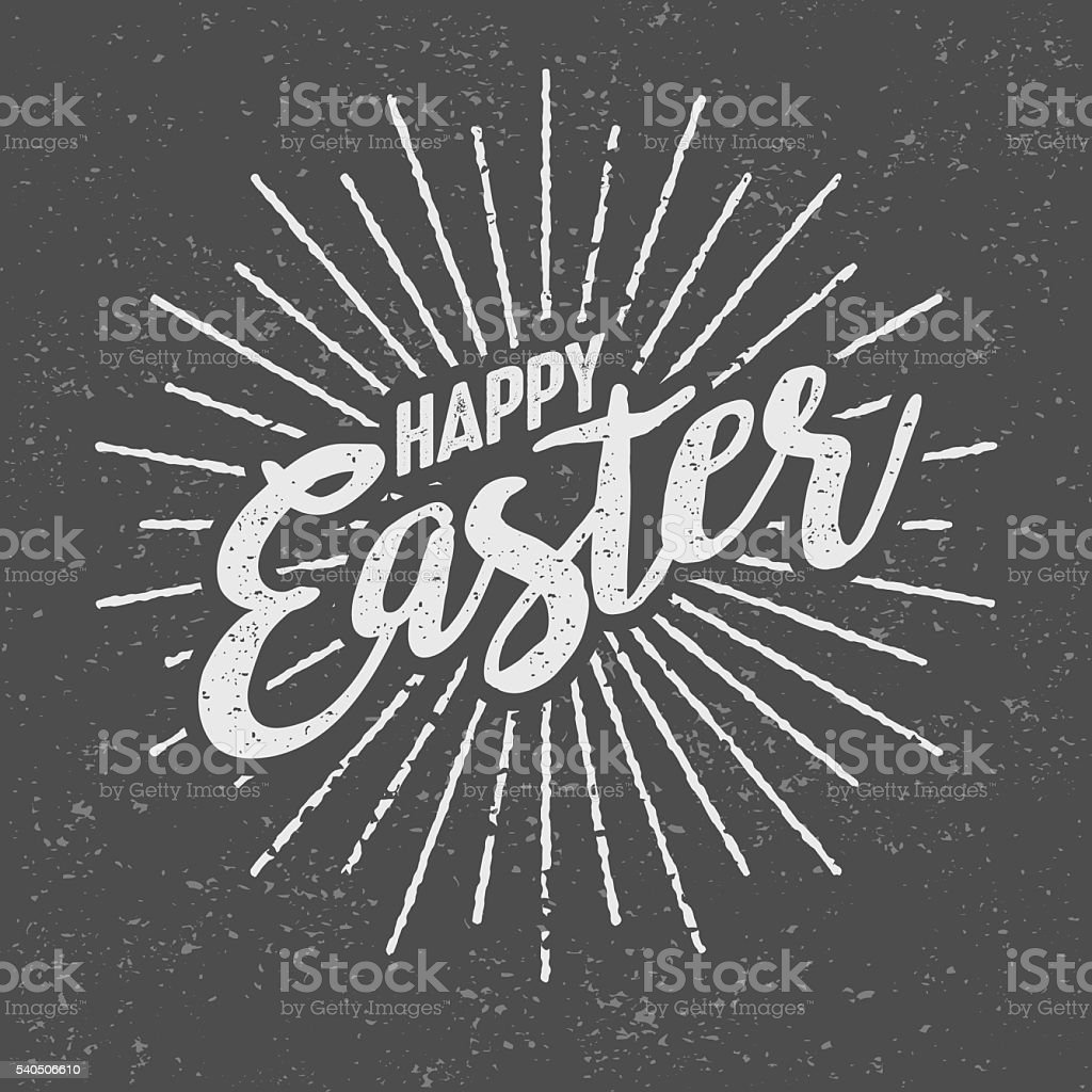 Happy Easter Message Vintage Screen Print vector art illustration