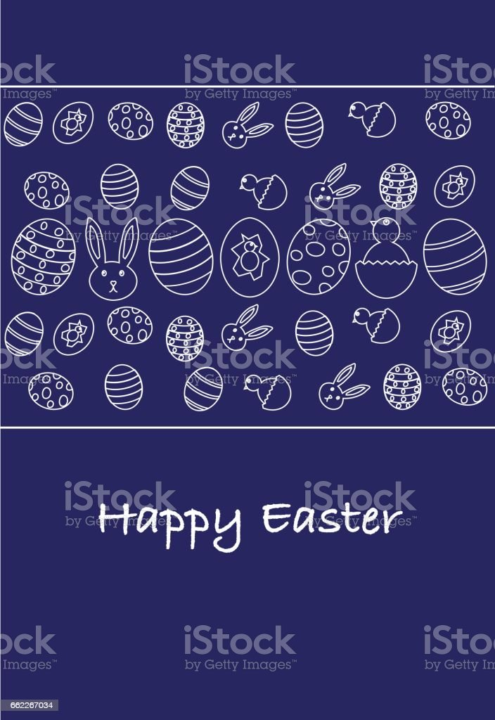 Happy Easter minimal greeting card vector art illustration