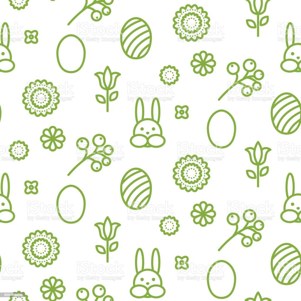 Happy Easter outline icon seamless vector pattern vector art illustration
