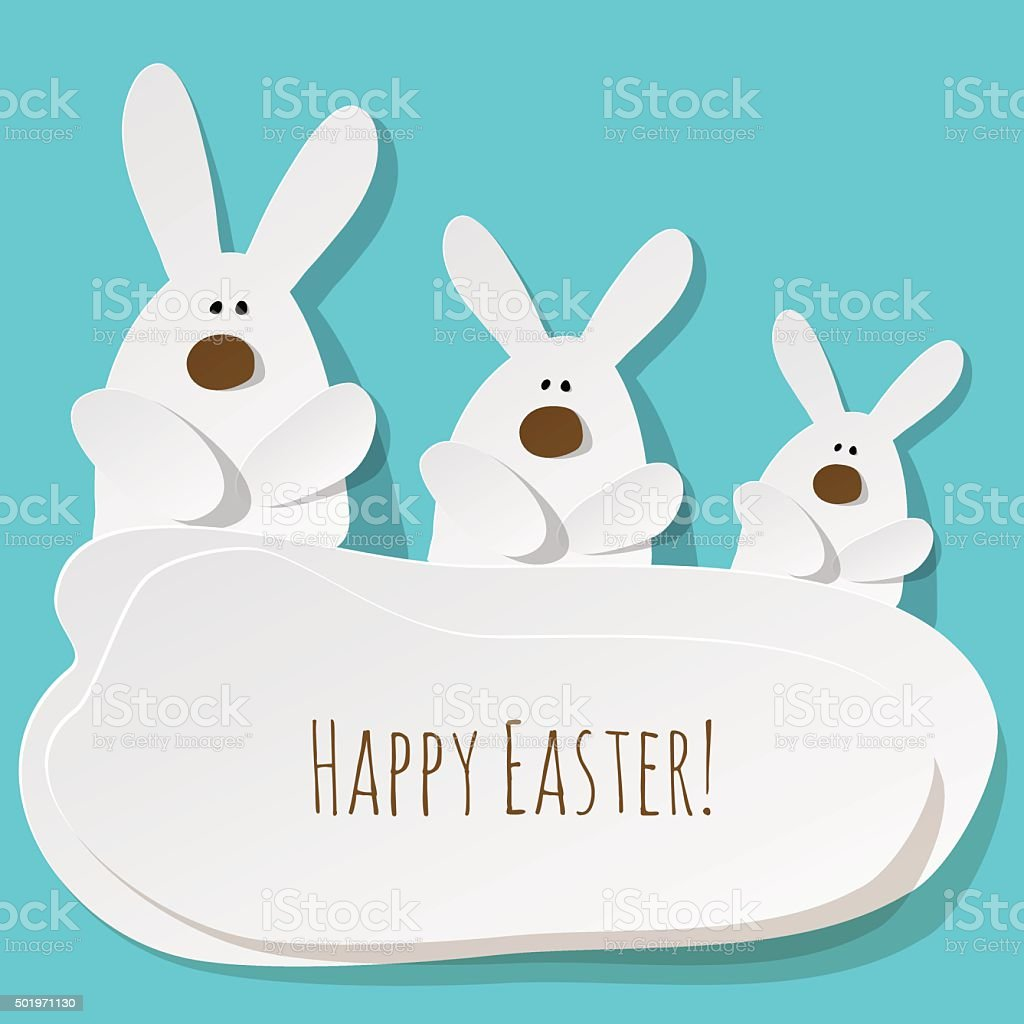 Happy Easter Postcard 3 Bunnies on a turquoise background. vector art illustration