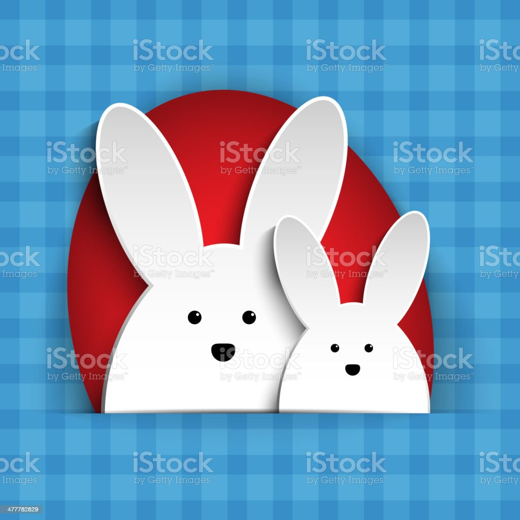 Happy Easter Rabbit Bunny on Blue Background vector art illustration
